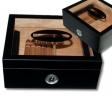 Kristallglas Klavierlack Black Humidor Cigar V-440 inkl. Polymerbefeuchter