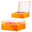 Humidor Pianolack Acrylglas Premiumbefeuchtung orange