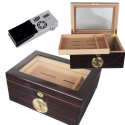 Cigar Oasis Ultra Colton Kristall-Ebenholz Humidor abschließbar Pianolack