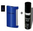 Set Dupont - Feuerzeug X-Tend-Minijet blau glänzend inkl. Gas