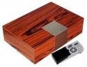 Cigar Oasis Ultra 2.0 Designhumidor Edelstahlaplikation Pianolack V-340