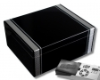 Cigar Oasis Ultra 2.0 Pianolack-Humidor mit Carbon-Finish-Aplikation V-400