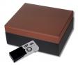 Cigar Oasis Ultra 2.0 Bicolor Humidor schwarz-matt Leder-braun V-500