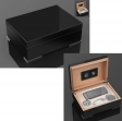 Secunda Luxus Humidor Geschenk Set Pianolack Noir Stainless Steel