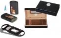 Set Mini Humidor Pianolack schwarz Feuerzeug Cutter