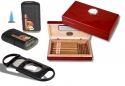Set Mini Humidor Pianolack Feuerzeug Cutter