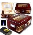 Wood Wonderful Kristallglas Humidor V-1320 inkl. Lifestyle-Ambiente Feuerzeug und Tastingbogen