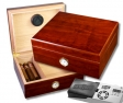 Cigar Oasis Ultra 2.0 Walnut Finish Humidor Hygro V-380
