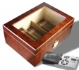 Cigar Oasis Ultra Sichtfenster Nussbaum-Finish Humidor V-670