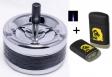 Schleuderaschenbecher schwarz-chrom 11 cm + Sturmfeuerzeug