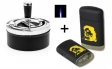 Schleuderaschenbecher chrom-schwarz 11 cm + Sturmfeuerzeug