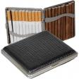 Zigarettenetui - Zigarilloetui Lederfinish schwarz 90 mm mit Federscharnier
