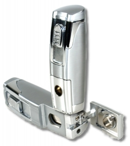 Tycoon Zigarrenfeuerzeug Robot Jet-Bohrer chrom-satin