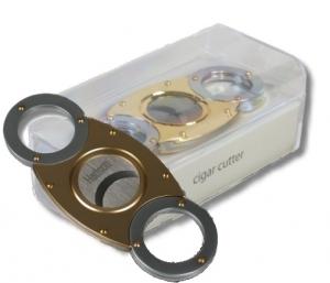 Hadson Zigarrencutter chrom/gold in Geschenkbox