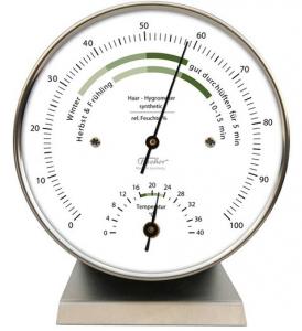 2. Wahl Fischer Wohnklima-Hygrometer mit Thermometer Edelstahlsockel