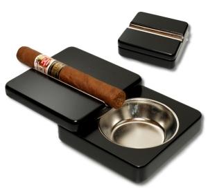 Zigarrenascher ausschiebbar Magnetverschluß schwarz