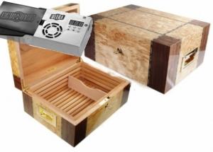 Cigar Oasis Ultra 2.0 Premium Humidor Furniervariation mit Rillenfräsung