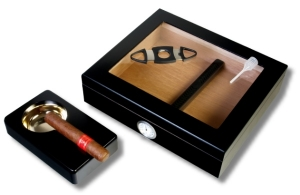 Kristallglas Black Finish Humidor-Set V-240