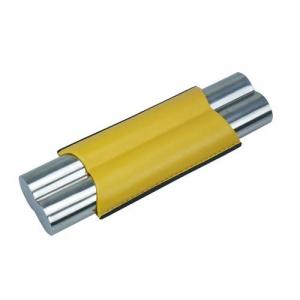 2er Teleskop-Zigarrenetui Stailess Steel gelb