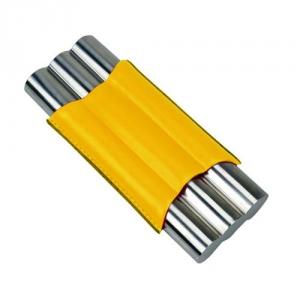 3er Teleskop-Zigarrenetui Stailess Steel gelb