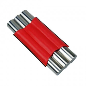 3er Teleskop-Zigarrenetui Stailess Steel rot