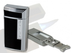 Pierre Cardin Chamonix Zigarren-Feuerzeug chrom-schwarz