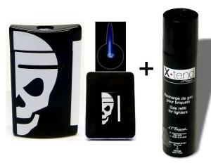 Set Dupont - Feuerzeug X-Tend-Minijet Noir skull inkl. Gas