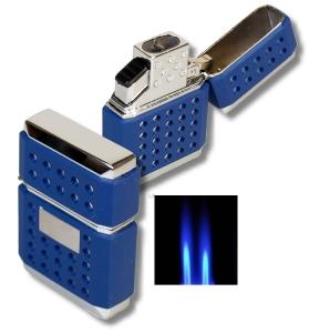 Tycoon Dots Doppel Jet Feuerzeug blau Rubber