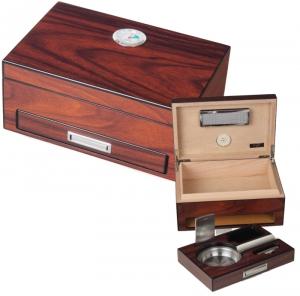Wood Humidor mit eingebautem Ascher, Cutter und Bohrer