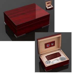 Secunda Luxus Humidor Geschenk Set Pianolack Wood Stainless Steel