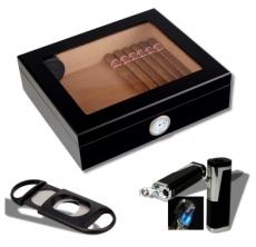 Humidorset Black-Editon Sichtfenster 2 Polymerbefeuchter