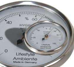 Lifestyle-Ambiente Profi - Humidor Haar - Hygrometer silber-groß