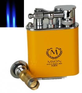 Zigarrenfeuerzeug MYON of Paris Racing Edition Gelb inkl. Zigarrenbohrer mit Schnappmechanik