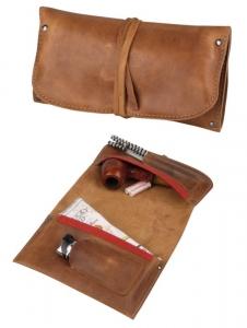Premium Pfeifenrollbeutel Leder braun Antik 18cm