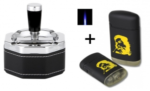 Schleuderaschenbecher chrom-schwarz 9 cm + Sturmfeuerzeug