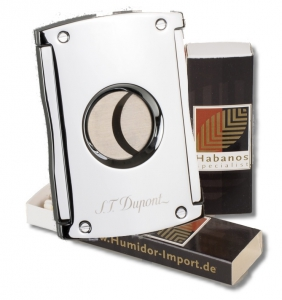S.T. Dupont Zigarrencutter MAXIJET chrom-glänzend + 2x Habanos-Specialist Streichholz