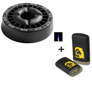 Smokeless Aschenbecher Roulette schwarz + Sturmfeuerzeug