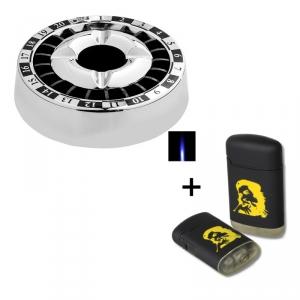 Smokeless Aschenbecher Roulette Chrom + Sturmfeuerzeug