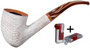Vauen Pfeife Fuji sand weiss 4293 + Winjet Pfeifenfeuerzeug