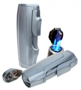 Zigarren Feuerzeug 3x Laser+Bohrer silber satiniert