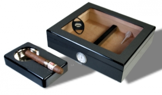Kristallglas Carbon Finish Humidor-Set V-240