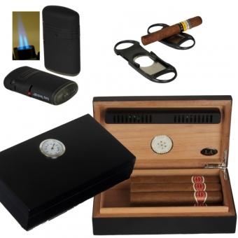 LA Humidor - Geschenkset Black Edition Polymerbefeuchter, Cutter, Feuerzeug